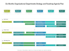 Six Months Organizational Departments Strategy And Roadmap Agenda Plan Icons
