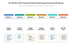 Six Months Plan Proposal Initiation Planning And Execution Roadmap Pictures