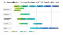 Six Months Product Planning Roadmap With Task Key Consideration Structure