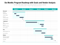 Six Months Program Roadmap With Goals And Vendor Analysis Mockup