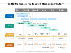 Six Months Program Roadmap With Planning And Strategy Professional