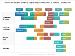 Six Months Project Roadmap Highlighting Development Of Multiple Commodities Formats