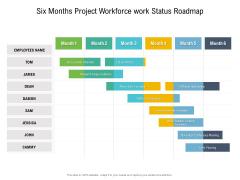 Six Months Project Workforce Work Status Roadmap Diagrams