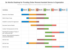 Six Months Roadmap For Providing Online Personal Assistant Service To Organization Clipart