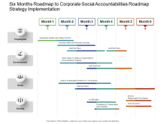 Six Months Roadmap To Corporate Social Accountabilities Roadmap Strategy Implementation Microsoft