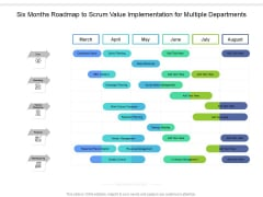 Six Months Roadmap To Scrum Value Implementation For Multiple Departments Professional