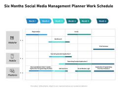 Six Months Social Media Management Planner Work Schedule Summary