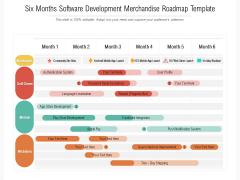 Six Months Software Development Merchandise Roadmap Template Formats