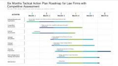Six Months Tactical Action Plan Roadmap For Law Firms With Competitive Assessment Topics