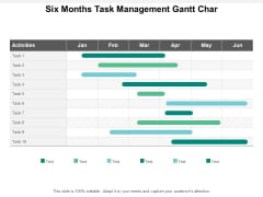 Six Months Task Management Gantt Char Ppt PowerPoint Presentation Infographics Graphics Template