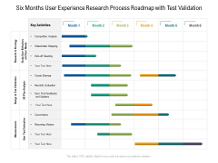 Six Months User Experience Research Process Roadmap With Test Validation Formats