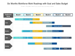 Six Months Workforce Work Roadmap With Goal And Sales Budget Sample