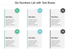Six Numbers List With Text Boxes Ppt PowerPoint Presentation Show Master Slide