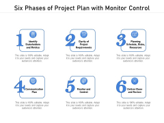 Six Phases Of Project Plan With Monitor Control Ppt PowerPoint Presentation Inspiration Styles