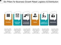 Six Pillars For Business Growth Retail Logistics And Distribution Ppt Powerpoint Presentation Infographics Rules