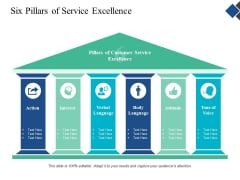 Six Pillars Of Service Excellence Ppt Powerpoint Presentation Shapes