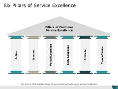 Six Pillars Of Service Excellence Ppt Powerpoint Presentation Styles Design Templates