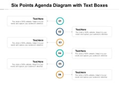 Six Points Agenda Diagram With Text Boxes Ppt PowerPoint Presentation Professional Ideas