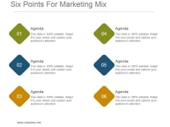 Six Points For Marketing Mix Powerpoint Slide Backgrounds