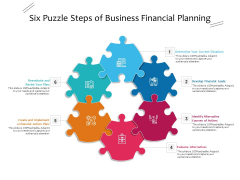Six Puzzle Steps Of Business Financial Planning Ppt PowerPoint Presentation Inspiration Samples PDF