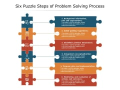Six Puzzle Steps Of Problem Solving Process Ppt PowerPoint Presentation Styles Examples PDF