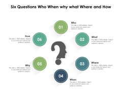 Six Questions Who When Why What Where And How Ppt PowerPoint Presentation Infographics Outfit PDF