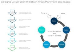 Six Sigma Circular Chart With Down Arrows Powerpoint Slide Images