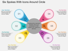 Six Spokes With Icons Around Circle Powerpoint Template