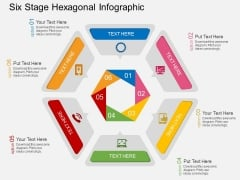 Six Stage Hexagonal Infographic Powerpoint Template
