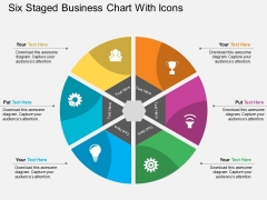 Six Staged Business Chart With Icons Powerpoint Template