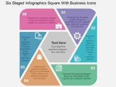 Six Staged Infographics Square With Business Icons Powerpoint Templates