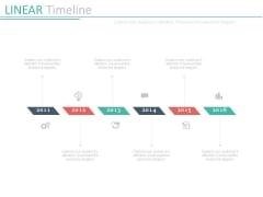 Six Staged Linear Timeline For Year Based Growth Powerpoint Slides