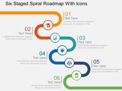 Six Staged Spiral Roadmap With Icons Powerpoint Templates