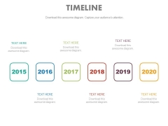 Six Staged Year Based Linear Timeline Powerpoint Slides