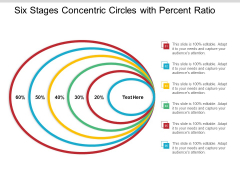 Six Stages Concentric Circles With Percent Ratio Ppt Powerpoint Presentation Ideas Design Templates
