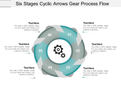Six Stages Cyclic Arrows Gear Process Flow Ppt Powerpoint Presentation Layouts Diagrams