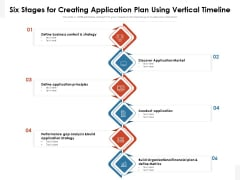 Six Stages For Creating Application Plan Using Vertical Timeline Ppt Ideas Mockup PDF