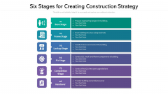 Six Stages For Creating Construction Strategy Ppt PowerPoint Presentation Slides Graphic Images PDF