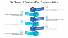 Six Stages Of Business Plan Implementation Ppt PowerPoint Presentation Gallery Topics PDF