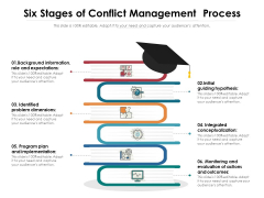 Six Stages Of Conflict Management Process Ppt PowerPoint Presentation Icon Example File PDF