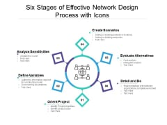 Six Stages Of Effective Network Design Process With Icons Ppt PowerPoint Presentation Professional Brochure PDF