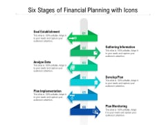 Six Stages Of Financial Planning With Icons Ppt PowerPoint Presentation File Shapes PDF