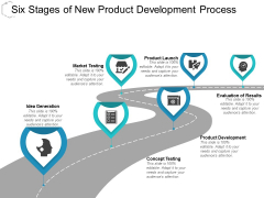 Six Stages Of New Product Development Process Ppt PowerPoint Presentation Infographics Graphics Pictures