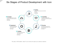 Six Stages Of Product Development With Icon Ppt PowerPoint Presentation Professional Diagrams