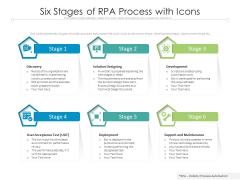 Six Stages Of RPA Process With Icons Ppt PowerPoint Presentation Inspiration Background Image PDF
