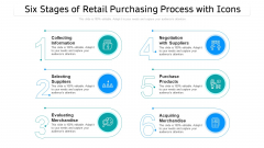 Six Stages Of Retail Purchasing Process With Icons Ppt PowerPoint Presentation Gallery Designs Download PDF