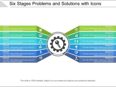 Six Stages Problems And Solutions With Icons Ppt PowerPoint Presentation Infographics Example PDF