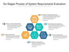 Six Stages Process Of System Requirements Evaluation Ppt PowerPoint Presentation Summary Graphics Template PDF