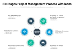 Six Stages Project Management Process With Icons Ppt PowerPoint Presentation Model Ideas PDF