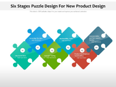Six Stages Puzzle Design For New Product Design Ppt PowerPoint Presentation Layouts Example File PDF